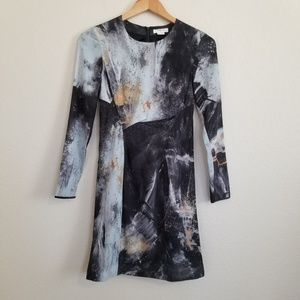 Helmut Lang Graphite Print Silk Blend Dress Size 0